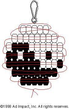 yin-yang pony bead pattern materials: 28 white and 28 black pony beads