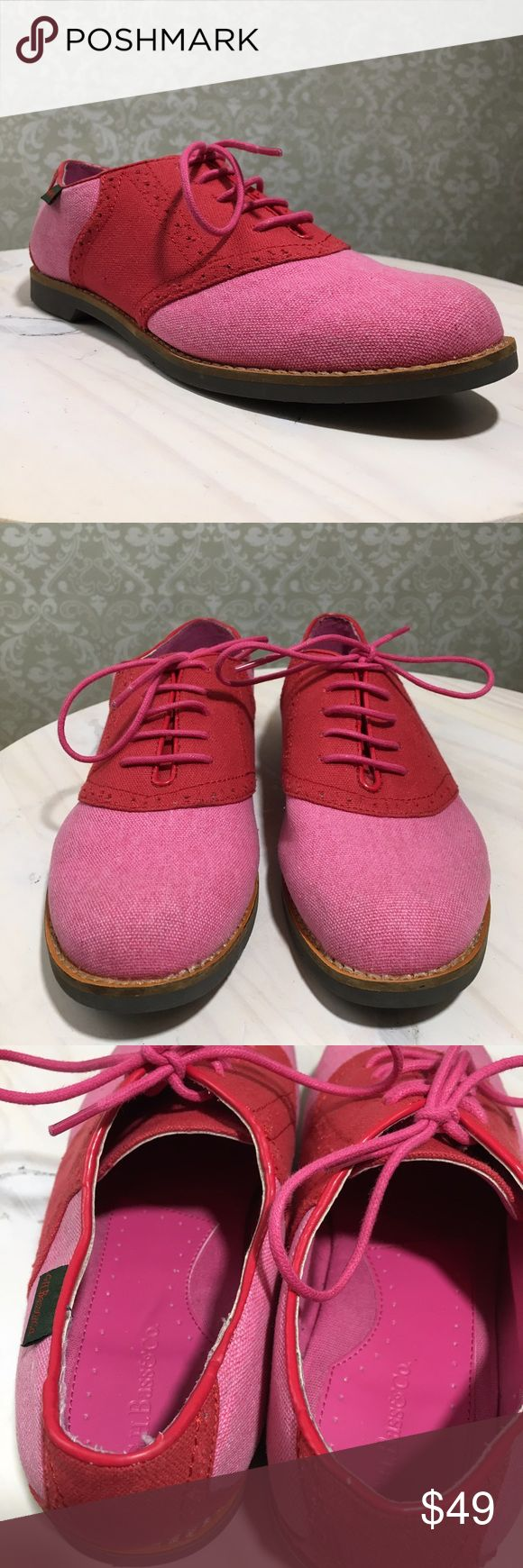 G.H. BASS 8 Elizabeth Saddle Oxford Pink Lace Up G.H. BASS & CO  Women Size 8  Elizabeth  Saddle Oxford  Pink/Pink  Lace Up  EUC  Overall excellent condition. Some light discoloration on fabric from previous wear.   No box Bass Shoes Flats & Loafers