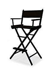 Telescope Casual Heritage Bar Height Director Chair, Black with Black Frame