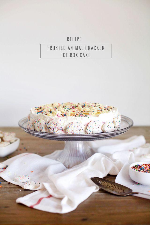 Frosted Animal Cracker Ice Box Cake- Sugar & Cloth