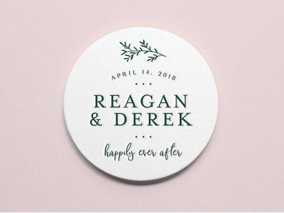 Wedding Decor Custom Letterpress Coasters Stylish Save the Date 4\u201d Round Simple Wedding Favors