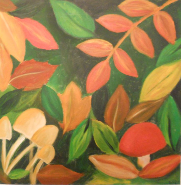 'Herfst- 2' : acryl op canvas 50x50 cm door Erna Feijge