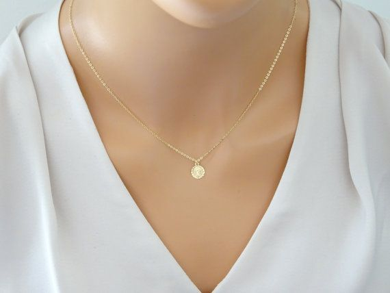 Petite Virgin Mary Necklace Gold fill Religious by LAminiJewelry