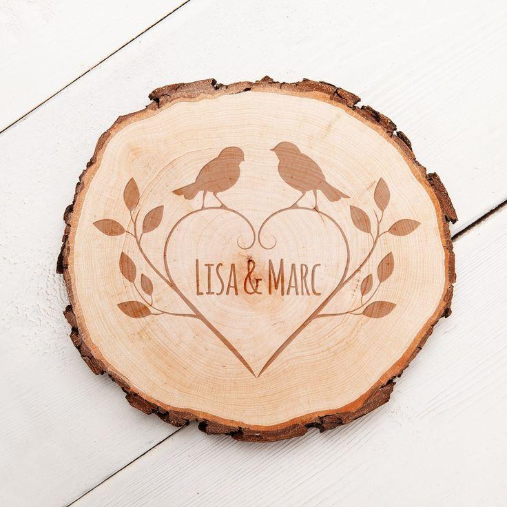 Baumscheibe Mit Romantischer Gravur   Vögel   Ihre Wunschinitialen In Eine  Baumscheibe Graviert. Macht Sich