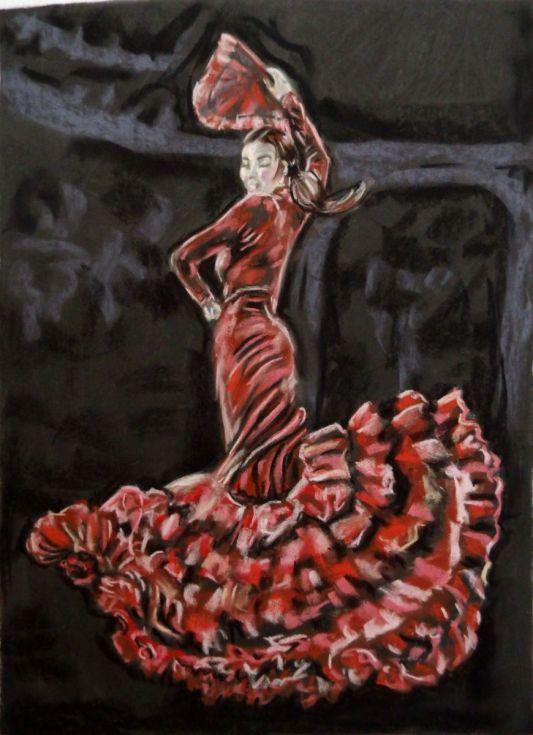 Buy Red dancer, Pastel drawing by Anna  Sasim on Artfinder. Soft pastel art,Pastelmat paper. Discover  on Artfinder original dance art for sale, woman drawing, woman painting, performing art, paintings from independent artists. #danceinspiration