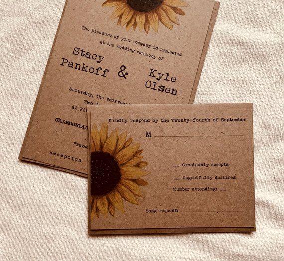 Sunflower wedding invitation floral wedding invitation