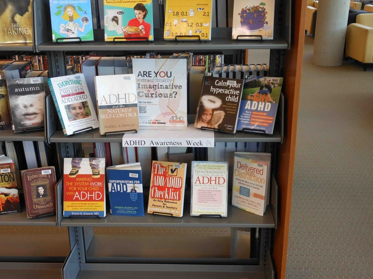ADHD book display At Burnaby Public Library McGill Branch #2 Metro Vancouver ADHD Awareness Week 2012. By The Vancouver Adult ADD Support Group. Photo by Ed.