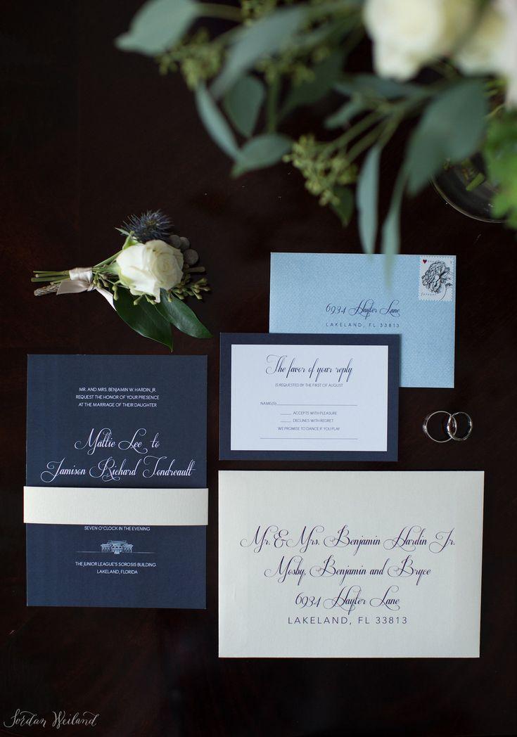 deer hunter wedding invitations%0A Navy blue elegant wedding invitation   Ashton Events