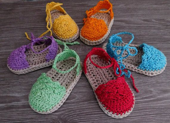 This listing is a crochet PATTERN for Baby Espadrille sandals N.104 available for instant download after purchase.  Include 2 sizes: 0-6 months and 6-12 months  Pattern is written in American Crochet terms and include 7 pages with many pictures.  If you know basic crochet stitches this is a very easy tutorial to follow. To make the sandals you will need: Cotton yarn (50gr/125m) in two colors, for sole and upper shoe. (Patons grace, Catania Cotton DK by Schachenmay or any other..Cotton ya...
