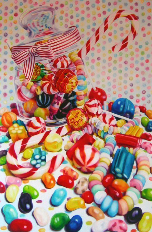 Kate Brinkworth: candy ~ oil on canvas still life hyper-realistic art