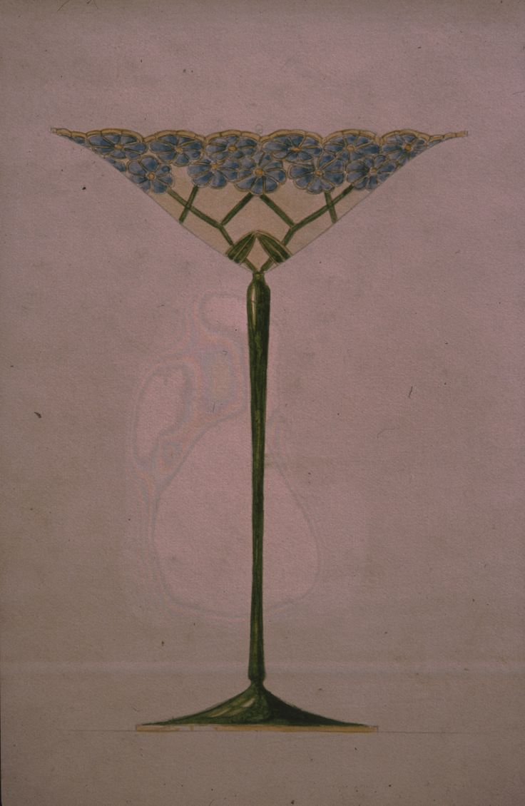 Gustav Gaudernack design for decorative vase in gilt silver with forget-me-not flower pattern in plique-a-jour enamel. 1901