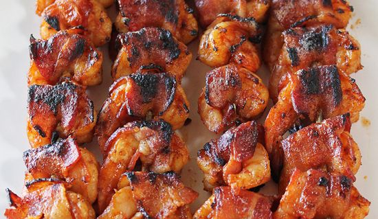 *MADE!* BBQ Bacon-Wrapped Shrimp. Couldn't find some ingredients so it came out pretty spicy!  Gonna try it again when we can find all the ingredients.