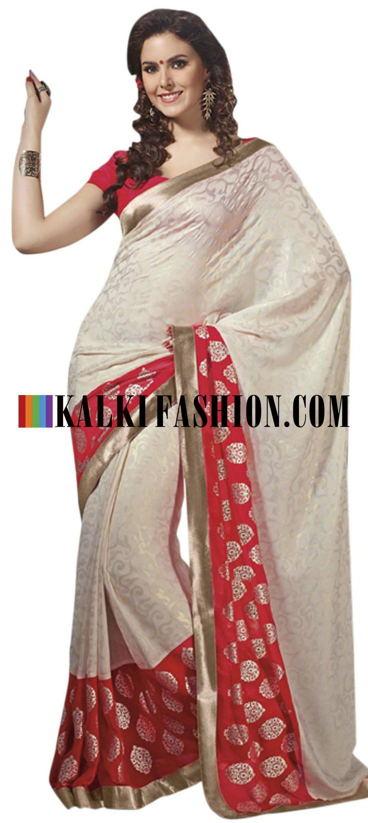 Buy Online from the link below. We ship worldwide (Free Shipping over US$100) http://www.kalkifashion.com/off-white-saree-highlighted-in-foil-print.html Off white saree highlighted in foil print