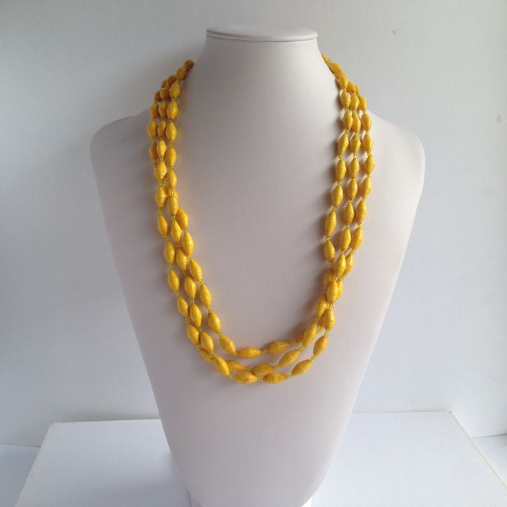 Zahra Yellow - 3 strand paper bead necklace from www.indigoheart.com.au