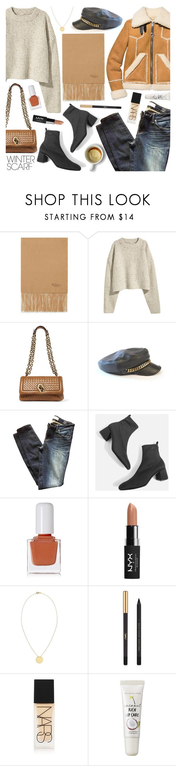 """""""Wrapper's Delight: Winter Scarf❄ 7-2-2018"""" by anamarija00 ❤ liked on Polyvore featuring Mulberry, H&M, Bottega Veneta, Marc by Marc Jacobs, Topshop, tenoverten, NYX, Talia Naomi, Yves Saint Laurent and NARS Cosmetics"""