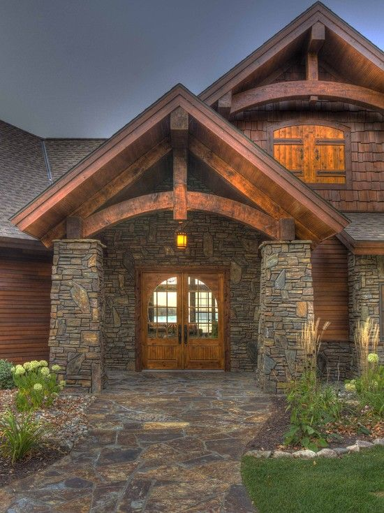 Spaces log house design pictures remodel decor and for Exterior entryway design ideas
