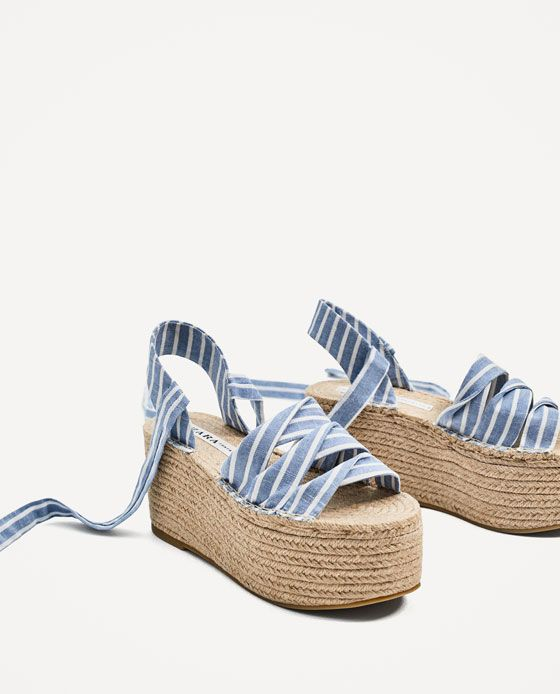 Image 3 of TIED JUTE PLATFORM WEDGES from Zara