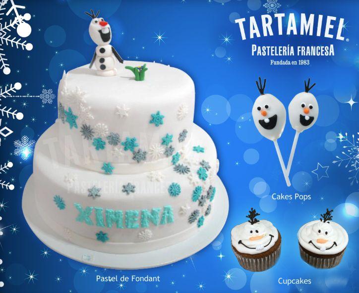 Mesas de postres, Pastel Fondant, Cupcakes, Cakepops, cumpleaños ... Olaf, Frozen, Disney.