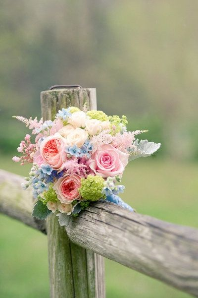 I would like to see an arrangement like this in a vase.  Pink, tiffany blue, pale green, greyed green and pale blush.  Perfect.