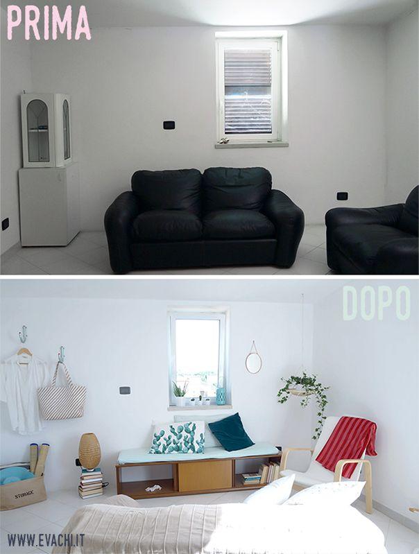 BEFORE & AFTER: Un piccolo soggiorno di una casa vacanza al mare _ A little living room, Holiday Home [IKEA, H&M Home, COIN Casa]