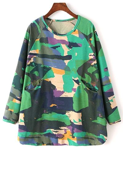 Printed Round Collar Long Batwing Sleeves Sweatshirt GREEN: Sweatshirts | ZAFUL