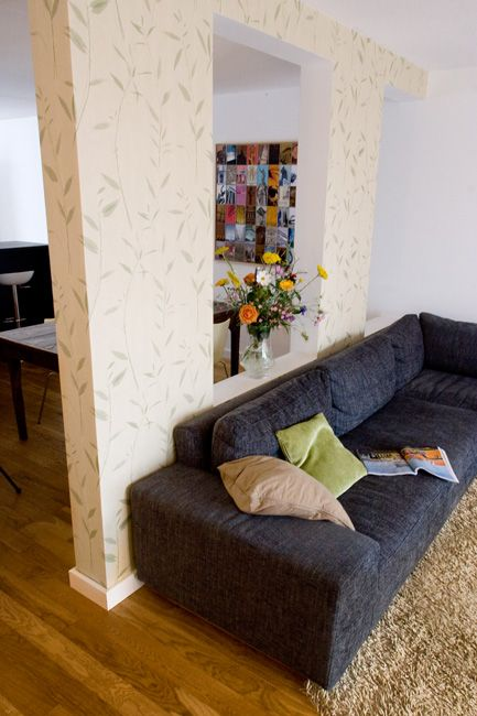 Living and dining room, Separation wall and interior design by www.insides.nl