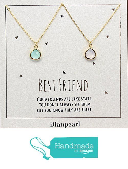 light pink and aqua crystal necklace, Best friends necklace for 2, BFF Necklace, friendship necklace for 2, Gold dainty necklace, gemstone necklace, tiny crystal, from DIANPEARL https://www.amazon.com/dp/B06WP46Q2F/ref=hnd_sw_r_pi_dp_c802ybN75VTJM #handma