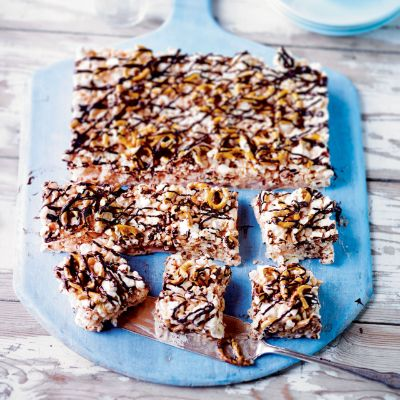 Martha Collison's salted caramel popcorn squares are an easy no-bake treat that can be prepared ahead of time for lunch boxes or getting together with friends.