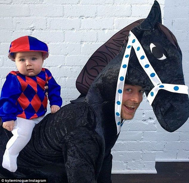 Hamish Blake and Sonny dress up as horse and jockey for Halloween