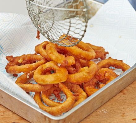 Forget soggy onions rings! Lightly pickling the onion before frying gives Tom Kerridge's beer-battered onion rings the edge