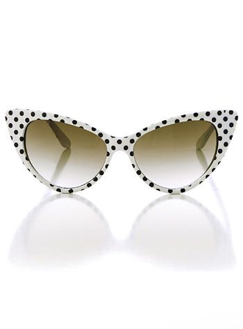 Every girl needs a little bit of polka dots in their wardrobe...or alot! :: Retro Style Polka Dot Sunglasses:  Cat eye sunglasses:: vintage style sunglasses