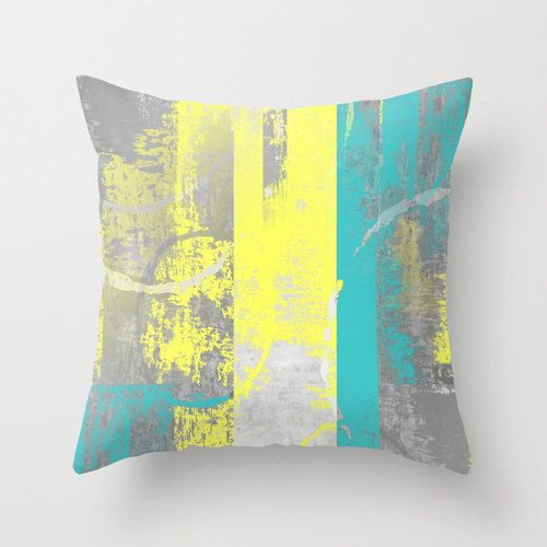 Abstract Pillow Teal Yellow Grey  Modern Home by HLBhomedesigns