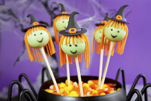 Halloween witch cake pops. Instructions in Spanish.