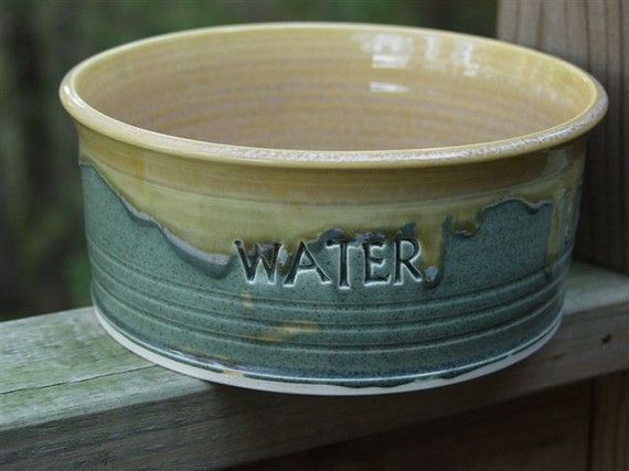 For our new puppy! Ceramic Pottery Dog Bowl Dish Food Bowl by KbOriginalsetc on Etsy, $29.75