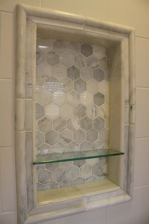 After: Custom Shower Niche, Carrara Marble