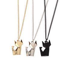 6 stks/partij nieuwste mode-sieraden accessoires metalen papier gevouwen flexagon geconfronteerd dier vos hanger ketting(China (Mainland))