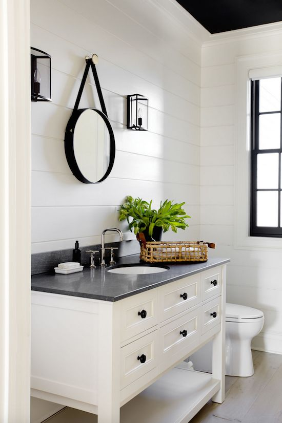 High Quality Color Inspiration: Charcoal And Cream Modern Farmhouse Bathroom, Shiplap  Walls, White Vanity, Black Counter And Accessories