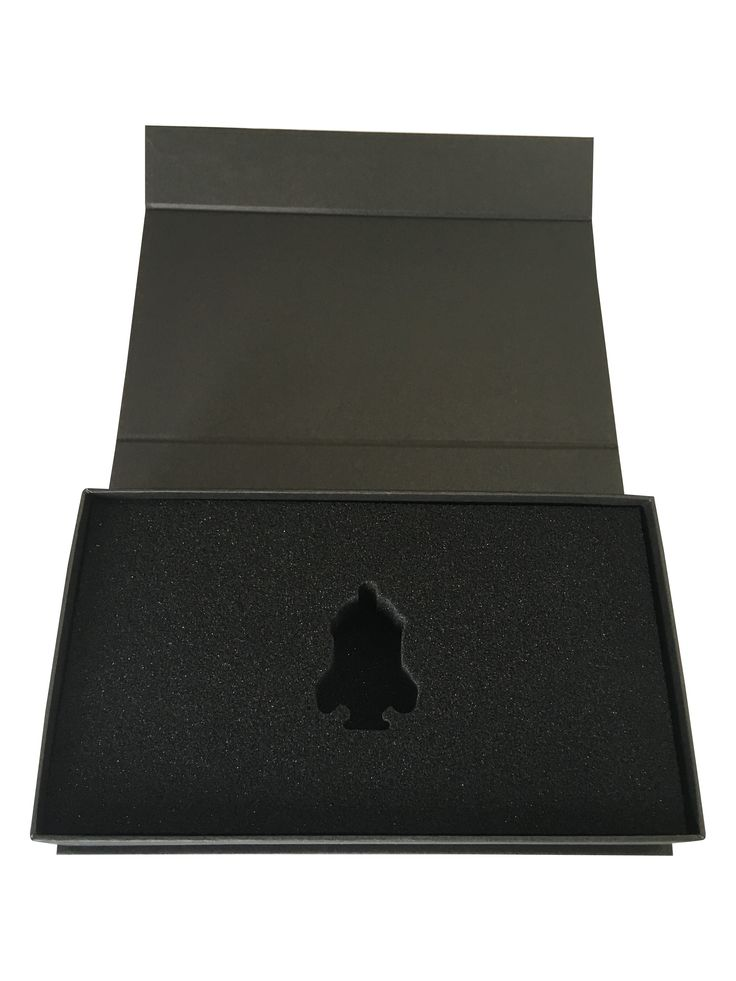 Marketing presentation gift box with custom cut foam insert. Promotional box. Black matte rigid box with magnetic close and black foam packaging
