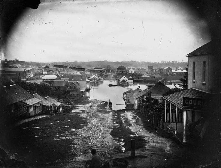 Charlotte Street, Brisbane, during the 1864 flood