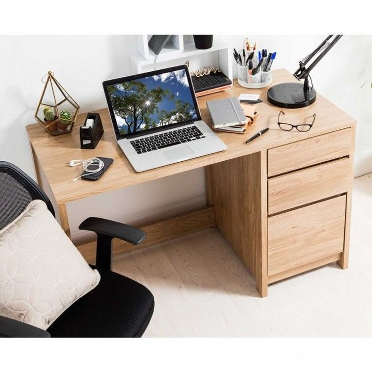 Computer Workstation Desk Wood Office Home Furniture Storage Shelves 3-Drawers