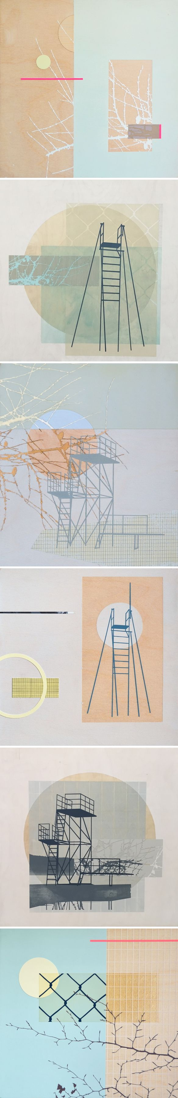 Oh. My. This is the work of Scottish artist Emily Moore. Elegant compositions, stunning color choices, and delicate lines. Those branches… sigh. This is some of her work from 2014/2015 but some of her latest pieces can be seen at the Edinburgh Collage Collective Exhibition, which opens this Wednesday night, November 23rd 7~11pm. If you're in Edinburgh… GO!