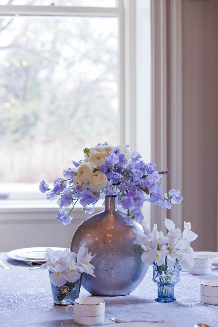 Whimsical Ivory Blue And Lilac Wedding Flower Centerpieces