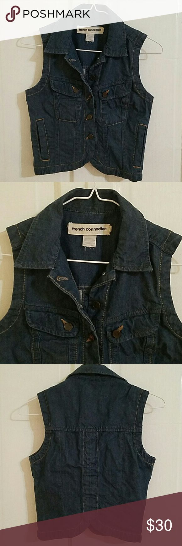 French Connection jean vest French Connection jean vest, tag says size 4 but this is a slim fit. French Connection Jackets & Coats Vests