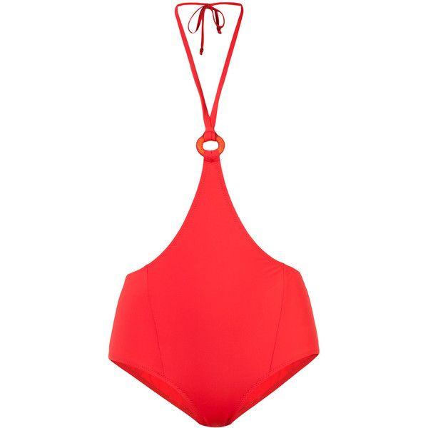 Morgan Lane Harley high-waist bikini bottom (220 CAD) ❤ liked on Polyvore featuring swimwear, bikinis, bikini bottoms, red, high-waisted bikinis, high waisted two piece, swim bikini bottoms, red high waisted bikini and red high waisted bikini bottoms