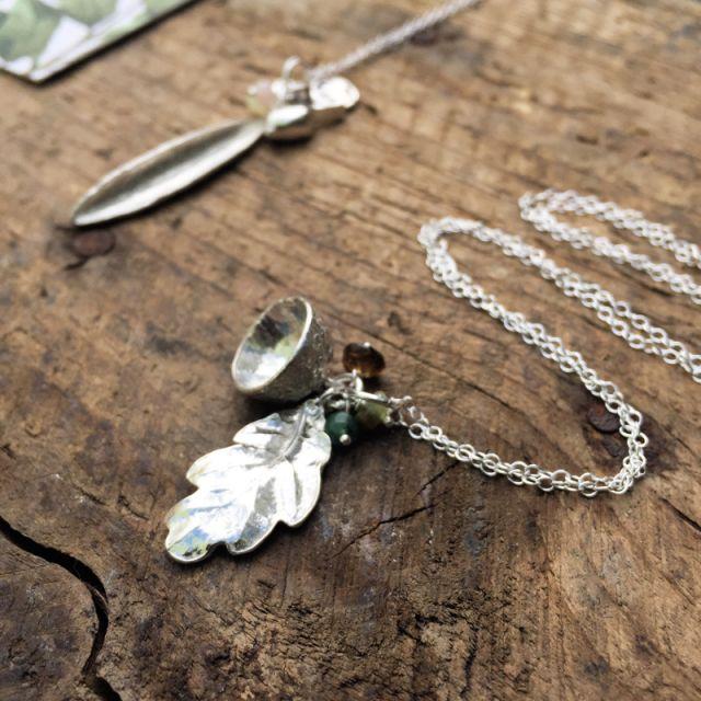 oak leaf and acorn cluster necklace