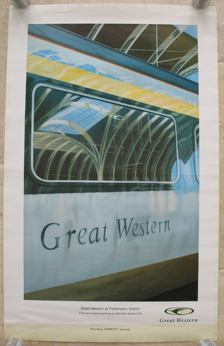 """Great Western, by Brendan Neiland. A reflected view of the roof of London's Paddington Station, seen in a coach window of one of the newly privatised """"Great Western"""" HST trains. The train is painted in the new company's new colour-scheme of green and ivory with """"Merlin"""" motif. Original Vintage Railway Poster available on originalrailwayposters.co.uk"""