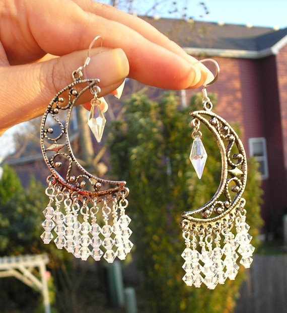 Chandelier Earrings Crystal Crescent Moon silver  by amystreasures, $30.00