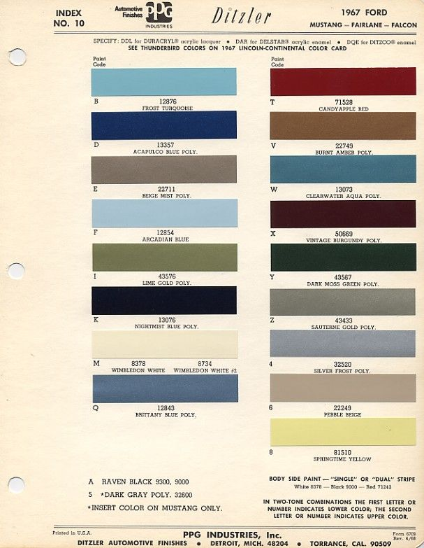 Ford Exterior Paint Codes Part - 30: Pin By The Eggman On Mustang Restoration | Pinterest | Mustang Restoration