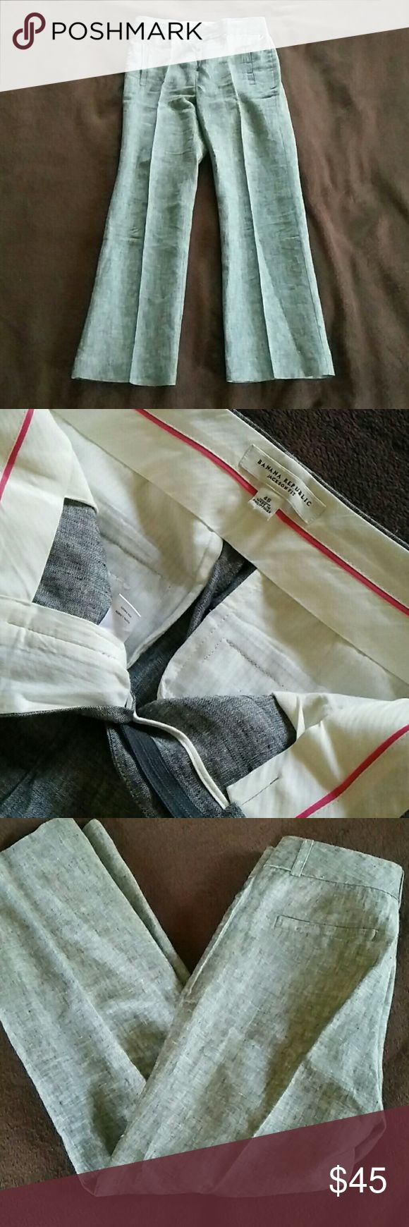Banana Republic Linen Trousers Gray linen trousers. In perfect used condition. Zipper and hook closure. Size listed as 4S. Banana Republic Pants Trousers