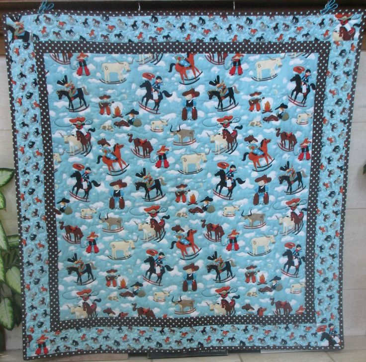Baby/Toddler Cowboy Quilt, Aqua/Brown Crib Quilt, Toddler Blanket, Boy Quilt by TheQuiltedCocoon on Etsy
